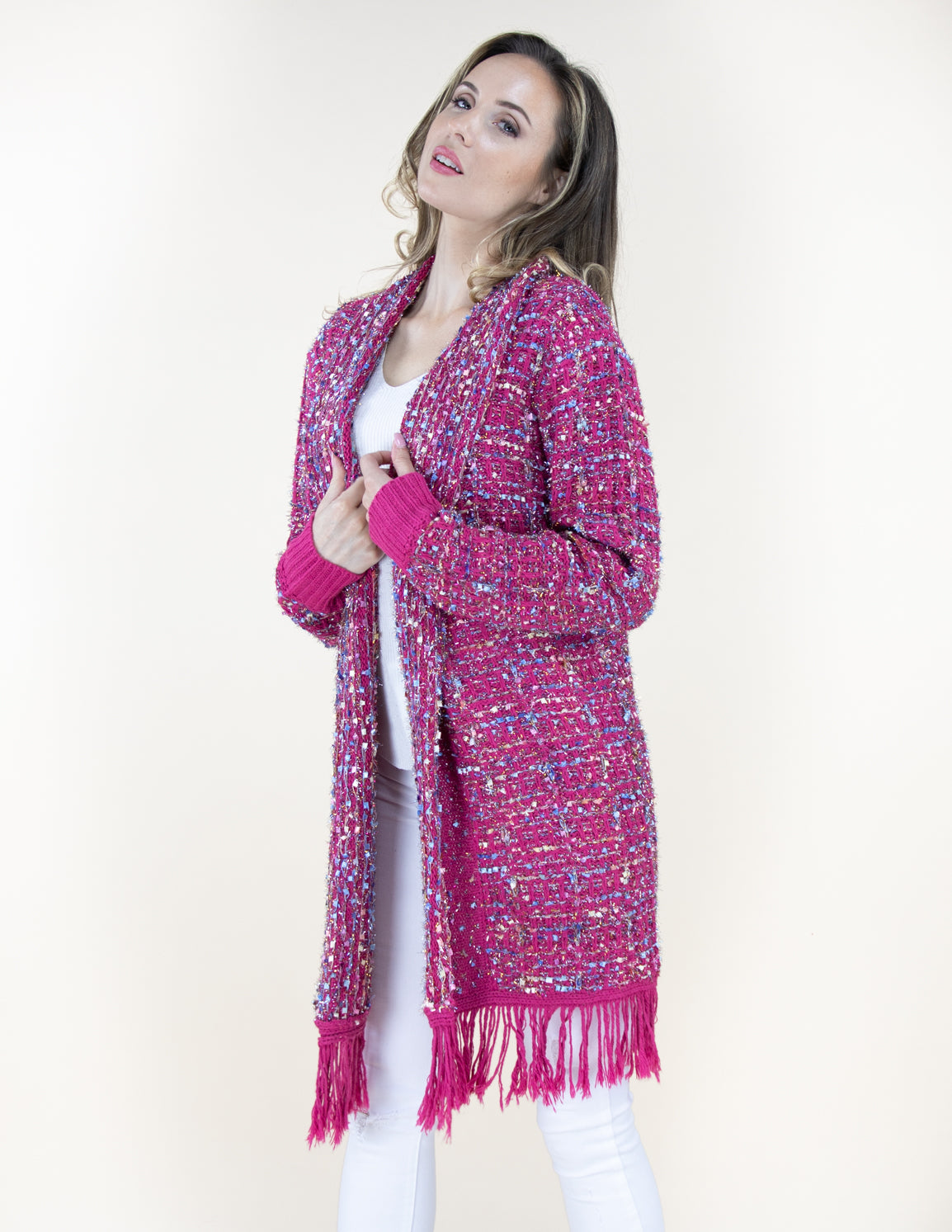 Fuchsia Tweed Pattern Cardigan Sweater with Fringe