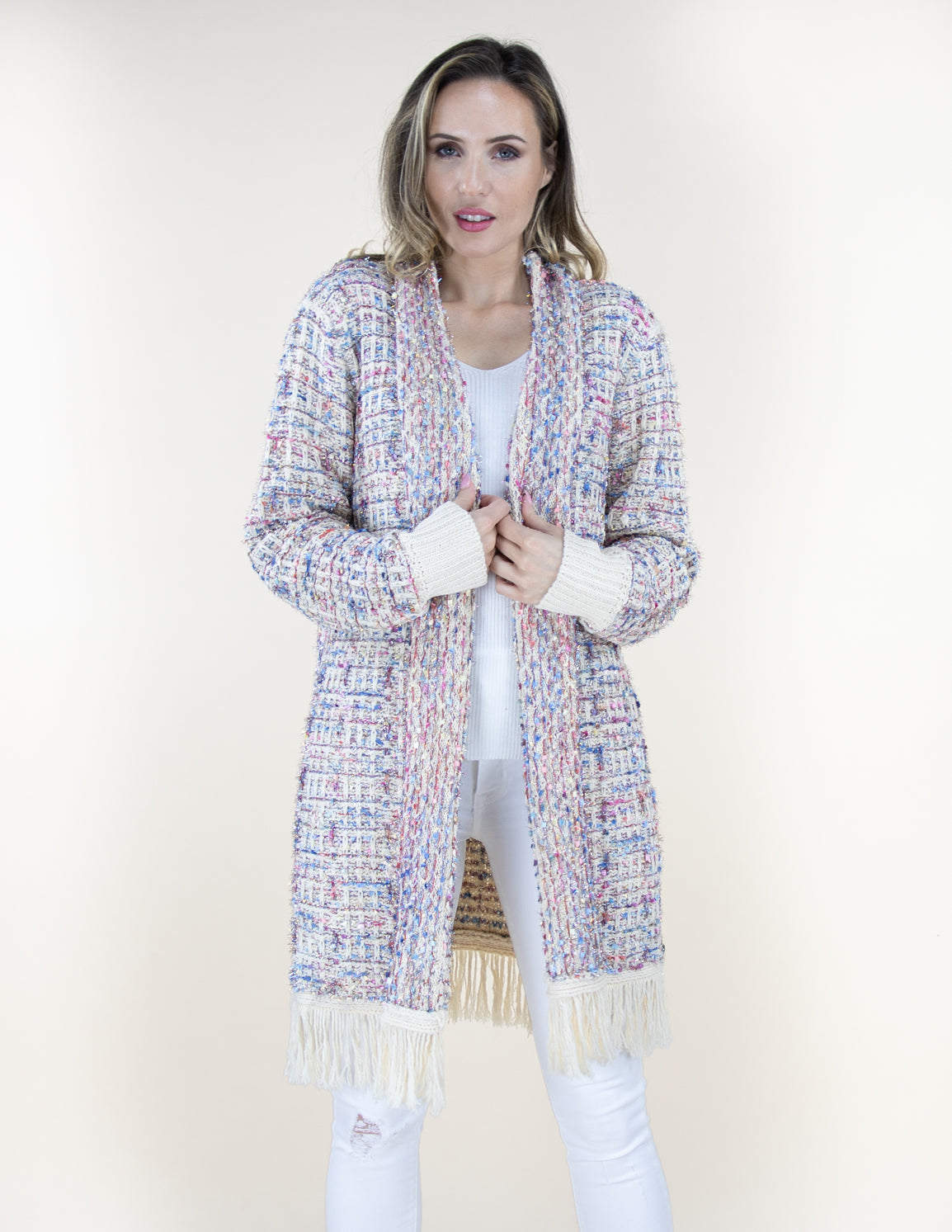 White Tweed Pattern Cardigan Sweater with Fringe