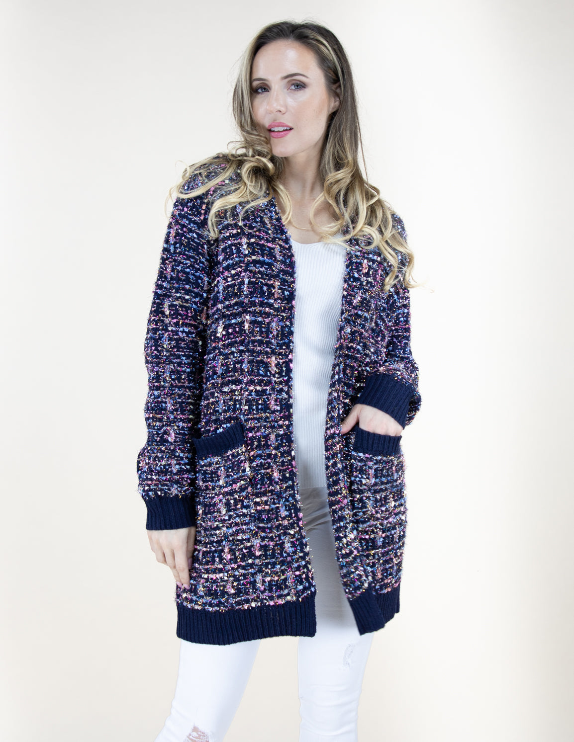 Navy Tweed Pattern Cardigan Sweater with Pockets