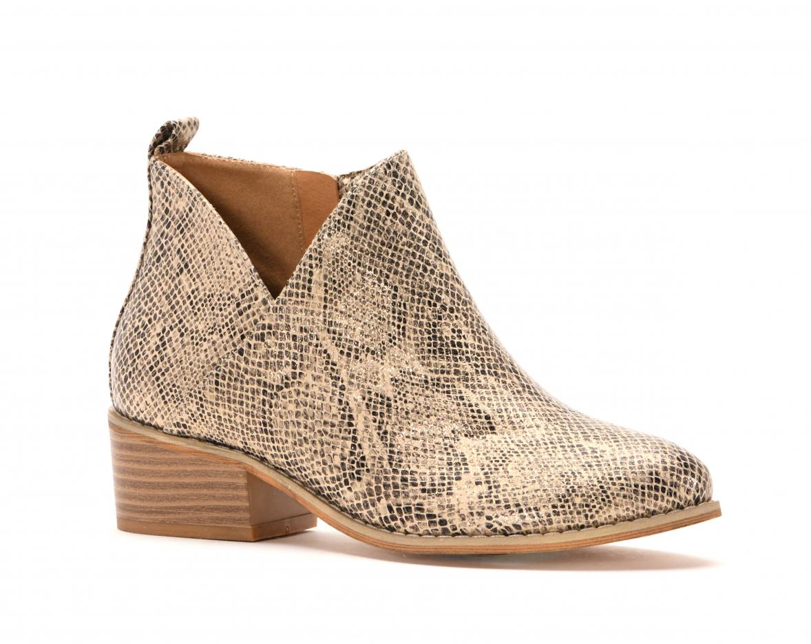 Corkys Shoes - Port Tan Snake Bootie