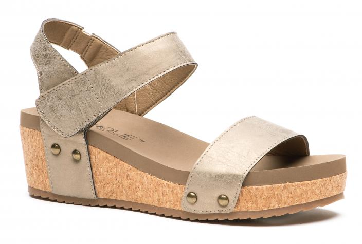 Corkys Shoes - Slidell Brushed Gold Wedge