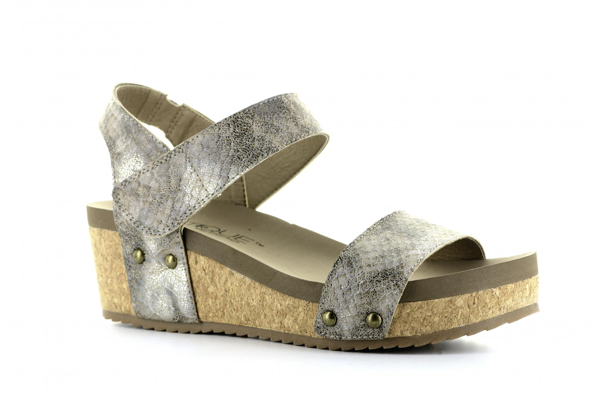 Corkys Shoes - Slidell Taupe Snake Wedge