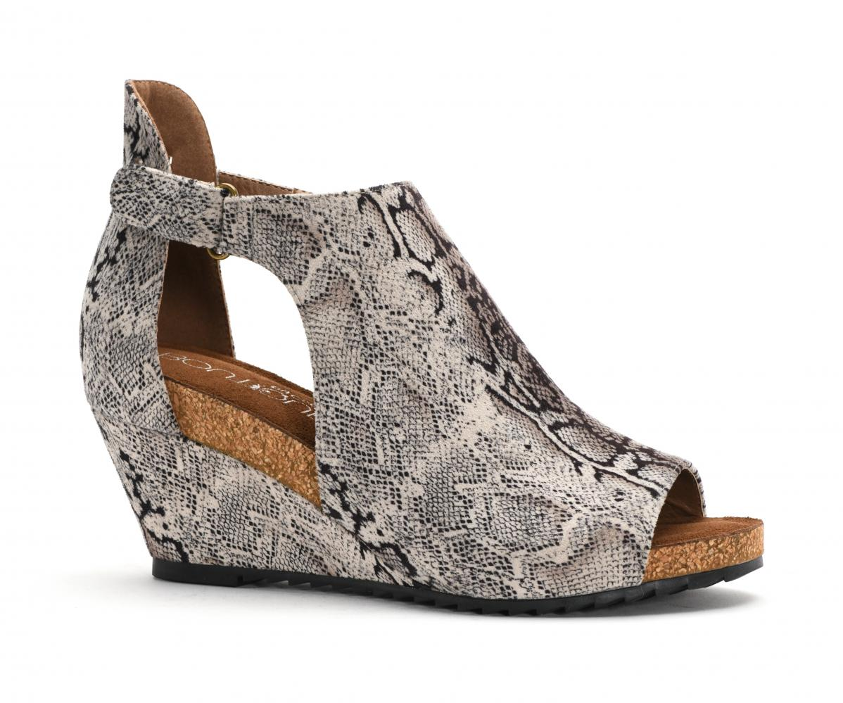Corkys Shoes - Sunburst II Black Snake Wedge
