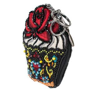 Mary Frances Cupcake Lover Beaded Coin Purse/Key Fob