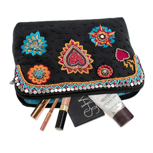 Mary Frances Flaming Heart Beaded Crossbody Make Up Bag