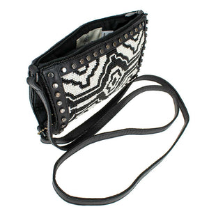 Mary Frances Going Native Leather & Beaded Crossbody Phone Bag