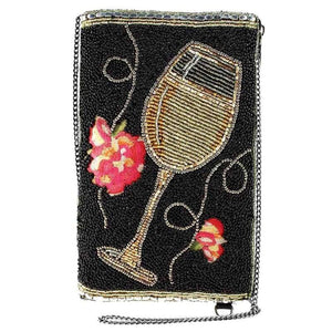 Mary Frances Wine Not? Beaded Crossbody Phone Bag