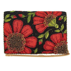 Mary Frances Wallflower Beaded Crossbody Clutch