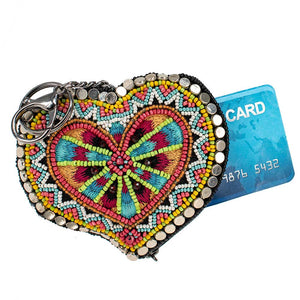Mary Frances Love Your Tribe Beaded Coin Purse/Key Fob