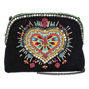 Mary Frances Love Your Tribe Beaded Crossbody Makeup Bag