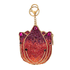 Mary Frances Pink Tulip Beaded Coin Purse/Key Fob