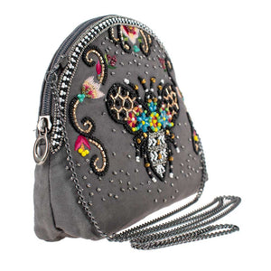Mary Frances Wild Bee Beaded Crossbody Makeup Bag