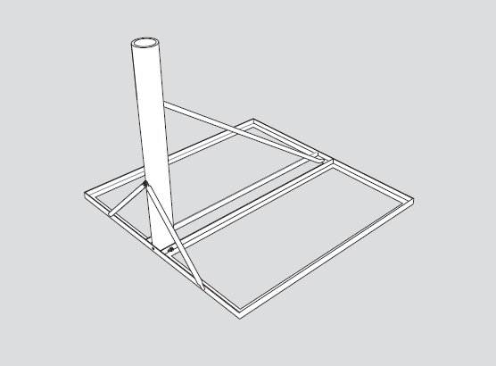 Non-Penetrating Roof Mount for 75cm, 84Ecm, 90cm and 1m Antenna Systems