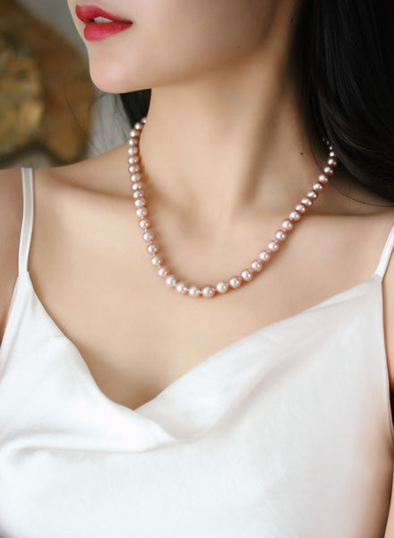7-8mm Flawless Pink Freshwater Cultured Pearl Necklace Strand for Women With 925 Sterling Silver