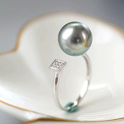 Tahitian South Sea Pearl Rings with 18K White Gold With Diamond For Wedding Bridal Gifts