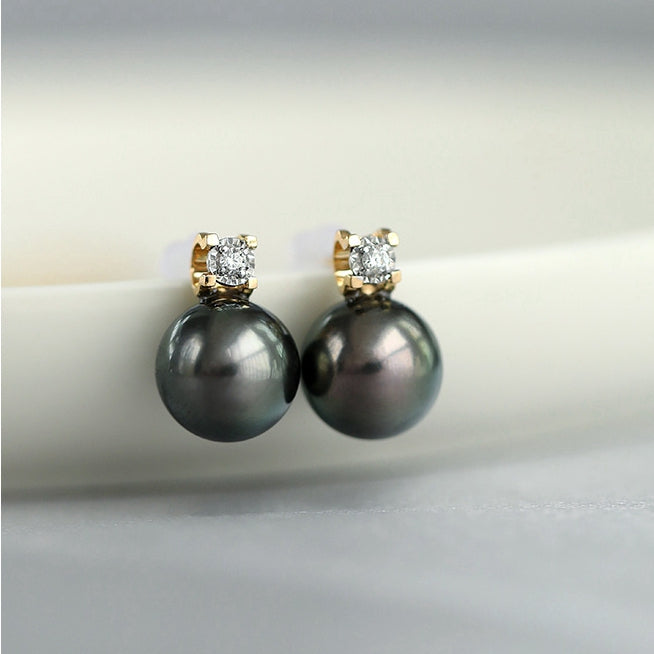 Genuine-Tahitian-South-Sea-Cultured-Black-Pearl-Earrings
