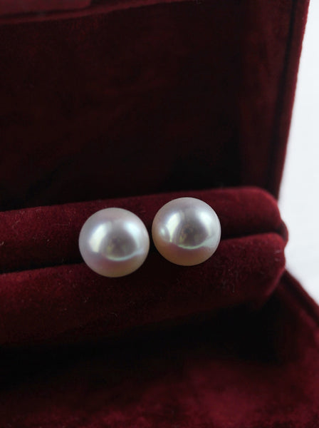 Pearl Earrings for Women Cultured Freshwater Pearls Stud Earrings Gold Plated 925 Sterling Silver