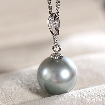 White-Gold-Tahitian-Cultured-Black-Pearl-Pendant-Necklace-11-12mm-For-Women