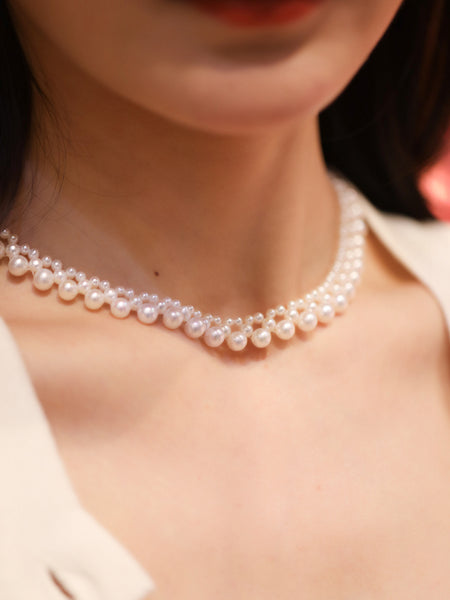 Antique-Multi-Strand-Cultured-Freshwater-Pearl-Choker-Necklace