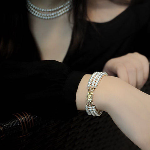 3-Strand-Real-White-Freshwater-Pearl-Bracelet-For-Women-With-925-Silver