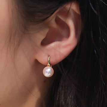 Round White Akoya Cultured Pearl Dangle Hook Earrings High Luster 18K Gold