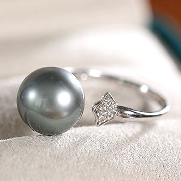 Black Tahitian South Sea Cultured Pearl Women Engagement Ring With Diamond