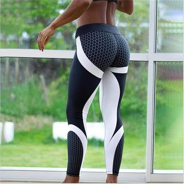 Mesh Pattern Print Leggings Fitness Leggings For Women Sporting Workout Leggins Jogging Elastic Slim Black White Pants - Beccaskulture