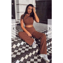 Charger l'image dans la galerie, Women knitted long sleeve o-neck crop top wide leg pants 2 piece set for female - Beccaskulture