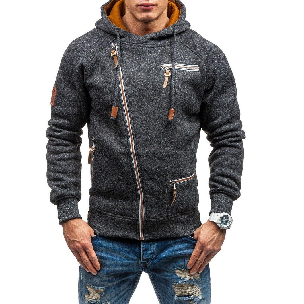 Men Side zipper gauze hoodies sweater - Beccaskulture