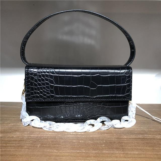 Square Box Women Top-Handle Bag Crocodile Pattern Shoulder Bags - Beccaskulture