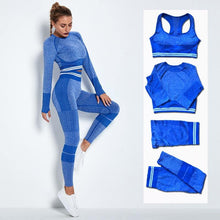 Charger l'image dans la galerie, 4Pcs Women Vital Seamless Yoga Set Sports Bra+Crop Top Shirts+Shorts+High Waist Leggings - Beccaskulture
