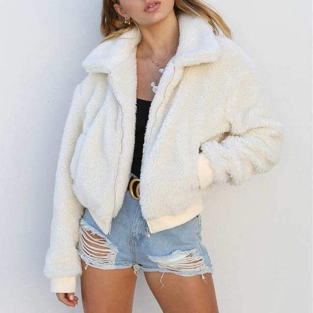 Women Autumn Winter Fluffy Teddy Jacket Coat - Beccaskulture