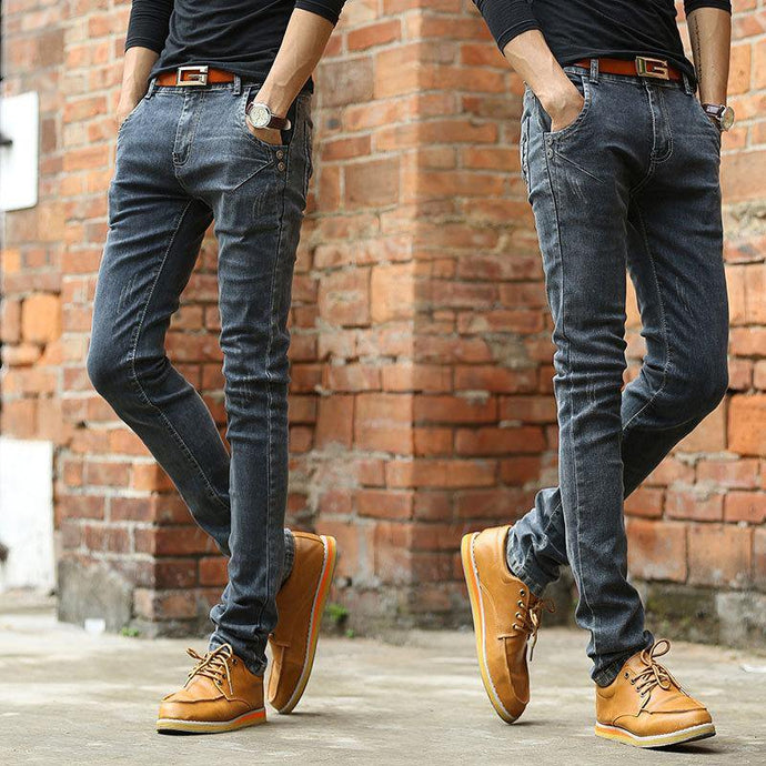 Vintage Men Slim Fit Jeans High Quality Trousers Designer Business - Beccaskulture
