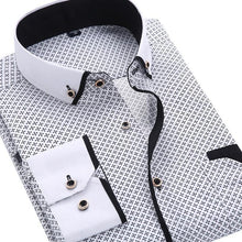 Load image into Gallery viewer, Casual Long Sleeved Printed shirt Slim Fit Male Social Business Dress Shirt Brand Men Clothing - Beccaskulture