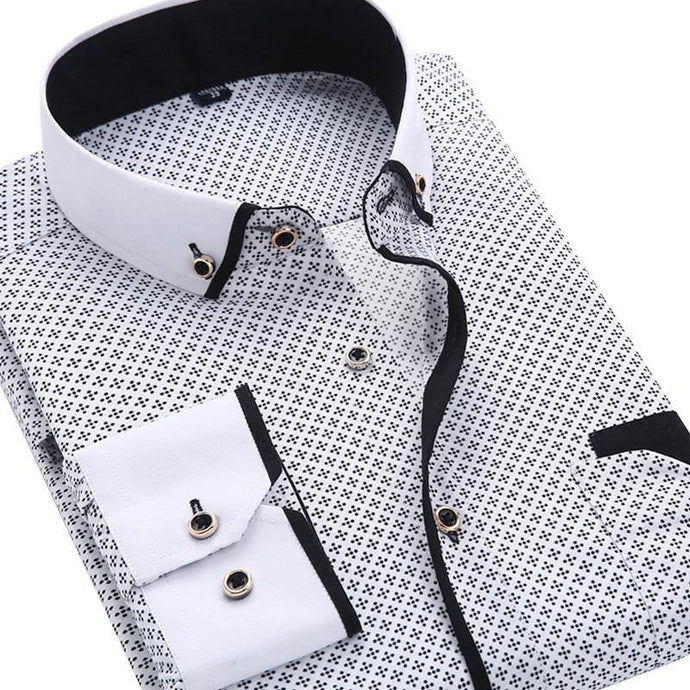 Casual Long Sleeved Printed shirt Slim Fit Male Social Business Dress Shirt Brand Men Clothing - Beccaskulture