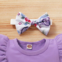Load image into Gallery viewer, 3PCS Infant Kid Baby Girl Fly Sleeve Purple Romper+Flowers Print Shorts Headband Summer Outfit - Beccaskulture