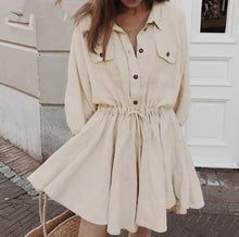 Load image into Gallery viewer, Elegant linen short shirt dress women Long sleeve cotton dress buttons female vestidos Vintage summer dresses - Beccaskulture