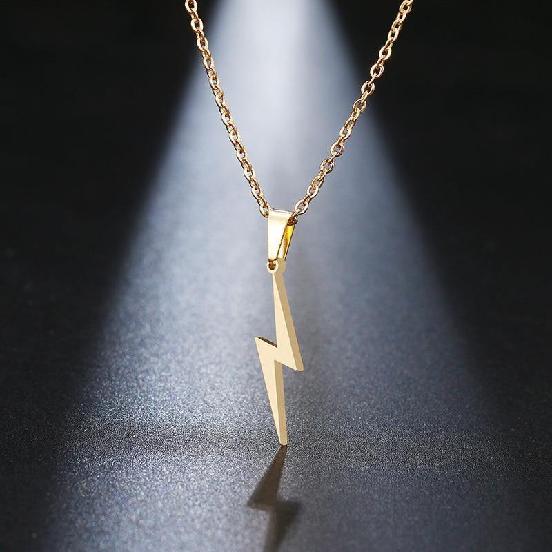 Stainless Steel Lightning Bolt Necklace Pendant for Women  Men Scar Necklace - Beccaskulture