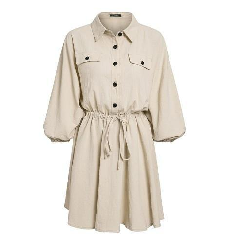 Elegant linen short shirt dress women Long sleeve cotton dress buttons female vestidos Vintage summer dresses - Beccaskulture