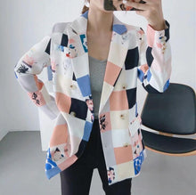 Load image into Gallery viewer, women fashion print blazer female long sleeve jacket - Beccaskulture