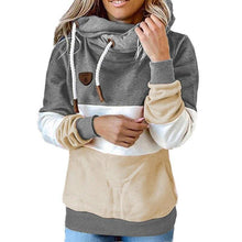 Load image into Gallery viewer, Winter women  Contrast Stitching hooded Turtleneck - Beccaskulture