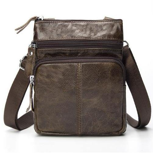 Men Genuine Leather Small Shoulder Bag - Beccaskulture
