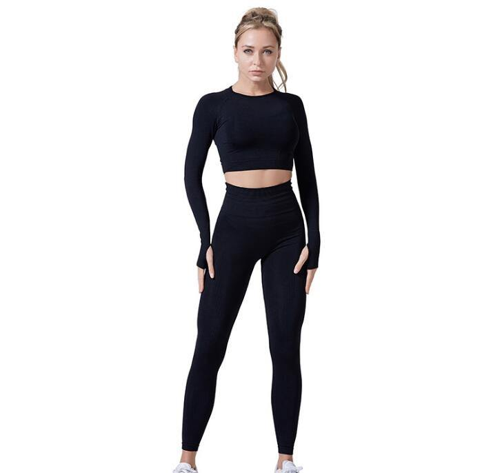 Women Vital Seamless Yoga Set Gym Clothing Fitness Leggings+Cropped Shirts Sport Suit - Beccaskulture