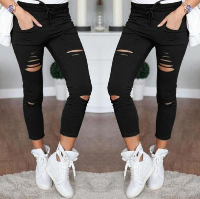Women Denim Pants Holes Destroyed Knee Pencil Pants - Beccaskulture