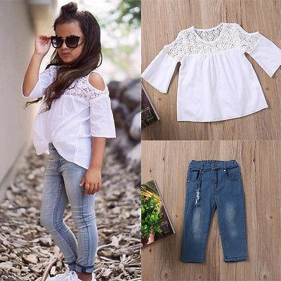Toddler Baby Kids Girls Summer Lace Tops T-Shirt+Denim Jeans Pants Outfits Set - Beccaskulture