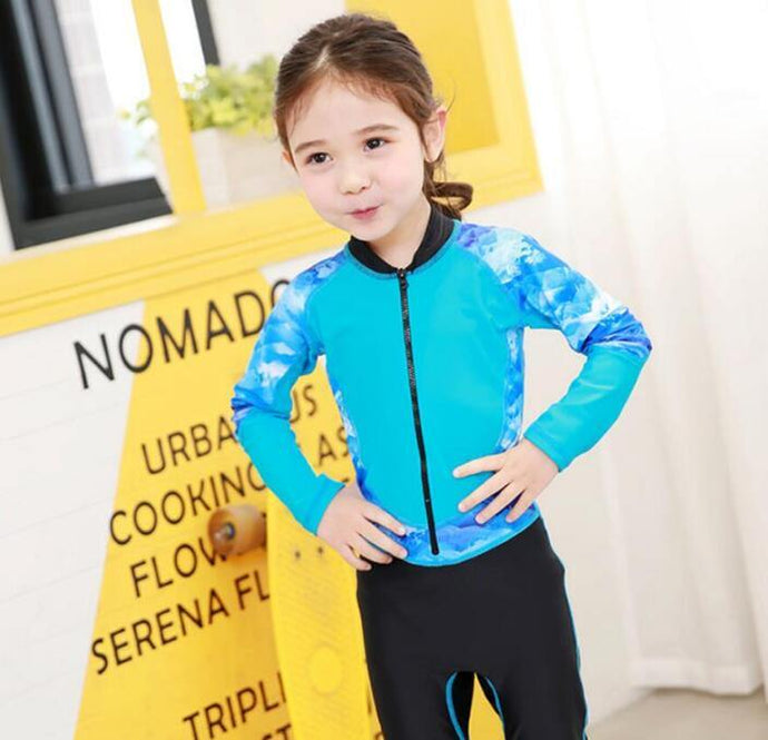Kids Swimming Suit Long Sleeve Swimwear Girls Beach Bath Suit - Beccaskulture