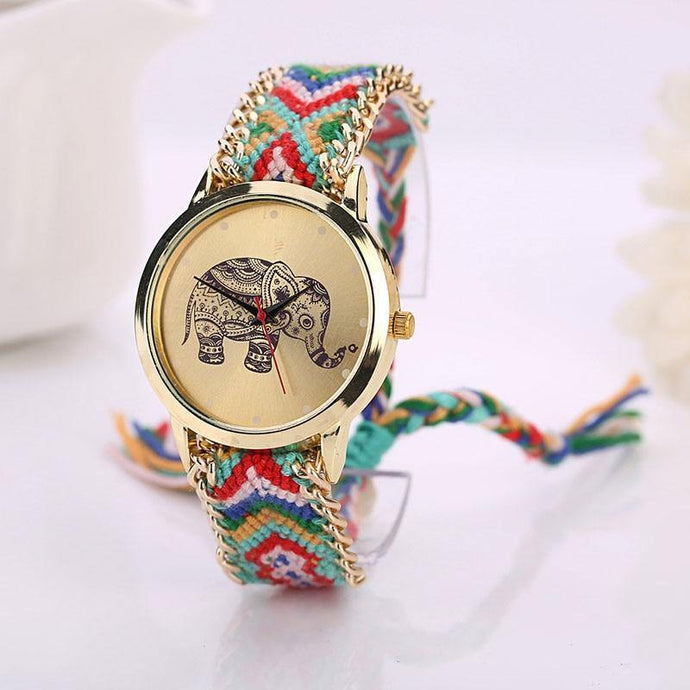 Women Elephant Leather Bracelet Watches - Beccaskulture