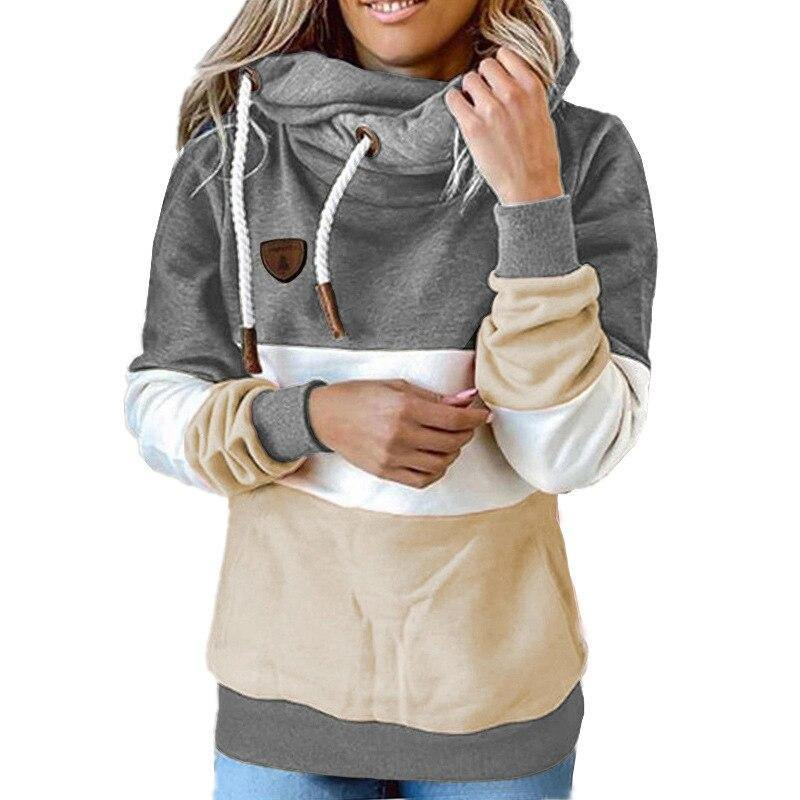 Winter women  Contrast Stitching hooded Turtleneck - Beccaskulture