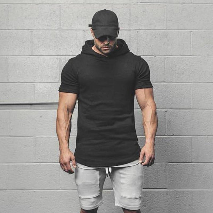 Men Gyms Hooded Short Sleeve Fitness Clothing - Beccaskulture