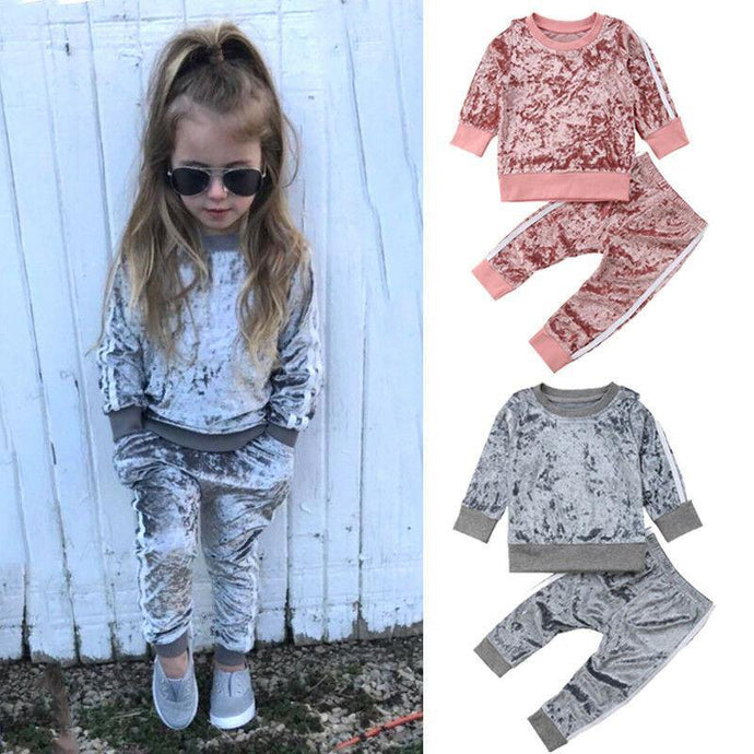 Winter Velvet Kids Baby Girls Clothes Sets Solid Long Sleeve T-shirt Tops + Pants 2PCS Outfit Sets - Beccaskulture